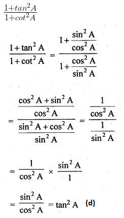 ML Aggarwal Class 10 Solutions for ICSE Maths Chapter 18 Trigonometric Identities MCQS 6