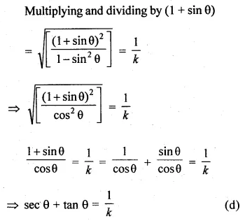 ML Aggarwal Class 10 Solutions for ICSE Maths Chapter 18 Trigonometric Identities MCQS 8