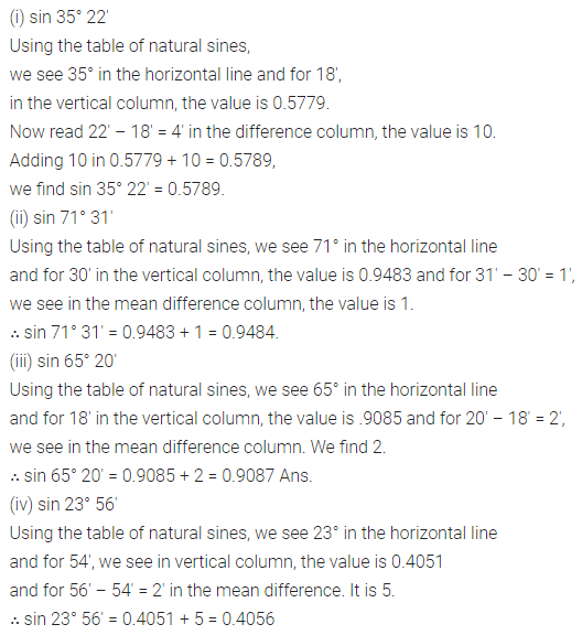 ML Aggarwal Class 10 Solutions for ICSE Maths Chapter 19 Trigonometric Tables Ex 19 1