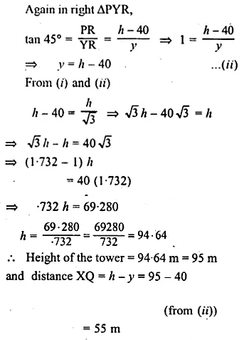 ML Aggarwal Class 10 Solutions for ICSE Maths Chapter 20 Heights and Distances Chapter Test 11