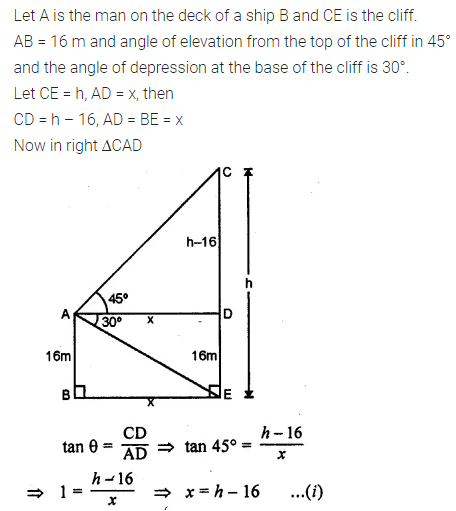 ML Aggarwal Class 10 Solutions for ICSE Maths Chapter 20 Heights and Distances Chapter Test 14