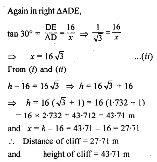 ML Aggarwal Class 10 Solutions for ICSE Maths Chapter 20 Heights and Distances Chapter Test 15