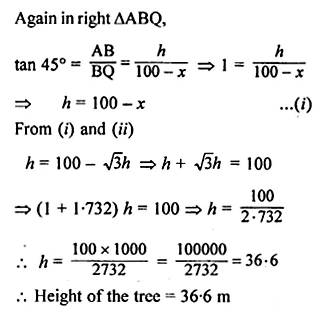 ML Aggarwal Class 10 Solutions for ICSE Maths Chapter 20 Heights and Distances Chapter Test 17