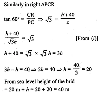 ML Aggarwal Class 10 Solutions for ICSE Maths Chapter 20 Heights and Distances Chapter Test 19