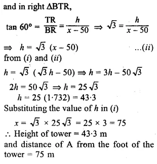 ML Aggarwal Class 10 Solutions for ICSE Maths Chapter 20 Heights and Distances Chapter Test 2