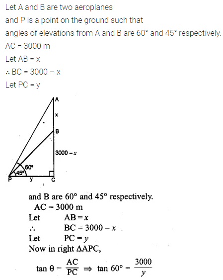ML Aggarwal Class 10 Solutions for ICSE Maths Chapter 20 Heights and Distances Chapter Test 3