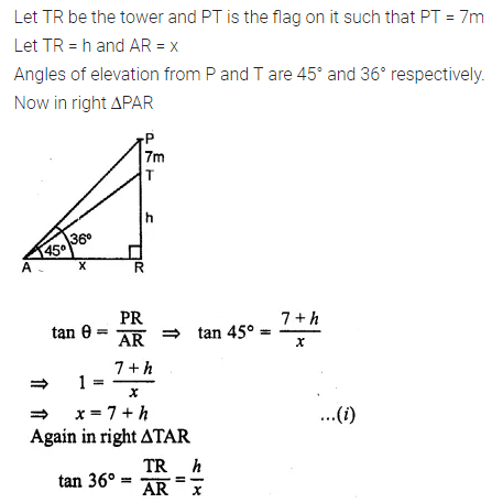 ML Aggarwal Class 10 Solutions for ICSE Maths Chapter 20 Heights and Distances Chapter Test 5
