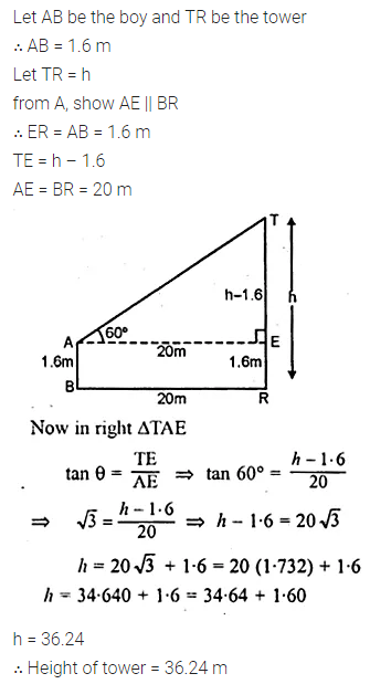 ML Aggarwal Class 10 Solutions for ICSE Maths Chapter 20 Heights and Distances Chapter Test 7