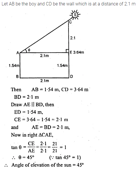 ML Aggarwal Class 10 Solutions for ICSE Maths Chapter 20 Heights and Distances Chapter Test 8
