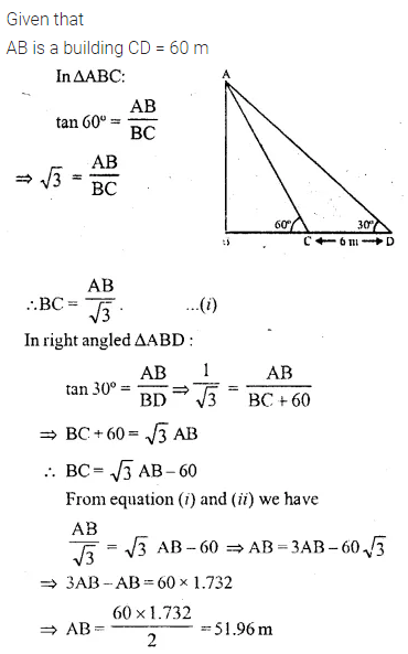 ML Aggarwal Class 10 Solutions for ICSE Maths Chapter 20 Heights and Distances Ex 20 27