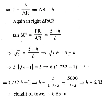 ML Aggarwal Class 10 Solutions for ICSE Maths Chapter 20 Heights and Distances Ex 20 52