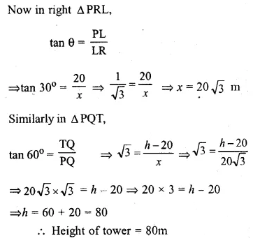 ML Aggarwal Class 10 Solutions for ICSE Maths Chapter 20 Heights and Distances Ex 20 54
