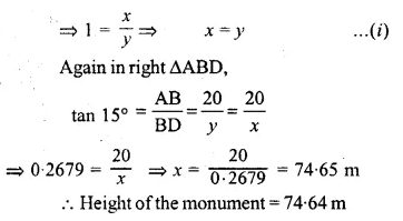 ML Aggarwal Class 10 Solutions for ICSE Maths Chapter 20 Heights and Distances Ex 20 56