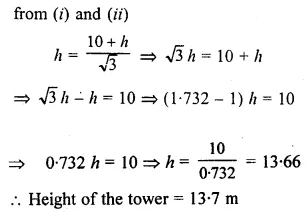 ML Aggarwal Class 10 Solutions for ICSE Maths Chapter 20 Heights and Distances Ex 20 61