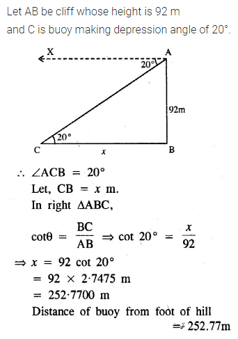 ML Aggarwal Class 10 Solutions for ICSE Maths Chapter 20 Heights and Distances Ex 20 7