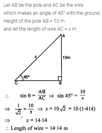 ML Aggarwal Class 10 Solutions for ICSE Maths Chapter 20 Heights and Distances Ex 20 9