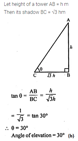 ML Aggarwal Class 10 Solutions for ICSE Maths Chapter 20 Heights and Distances MCQS 11