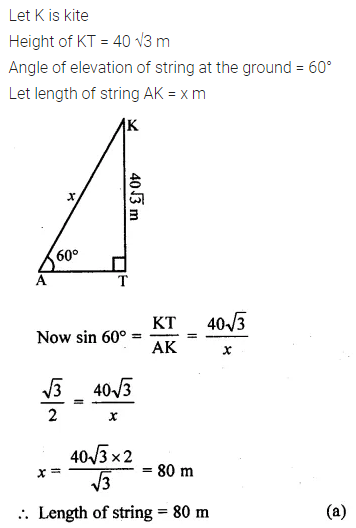 ML Aggarwal Class 10 Solutions for ICSE Maths Chapter 20 Heights and Distances MCQS 5