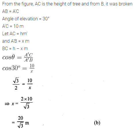 ML Aggarwal Class 10 Solutions for ICSE Maths Chapter 20 Heights and Distances MCQS 7