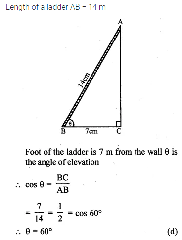 ML Aggarwal Class 10 Solutions for ICSE Maths Chapter 20 Heights and Distances MCQS 9