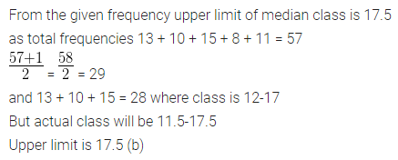 ML Aggarwal Class 10 Solutions for ICSE Maths Chapter 21 Measures of Central Tendency MCQS 15