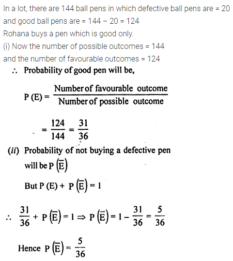 ML Aggarwal Class 10 Solutions for ICSE Maths Chapter 22 Probability Chapter Test 4