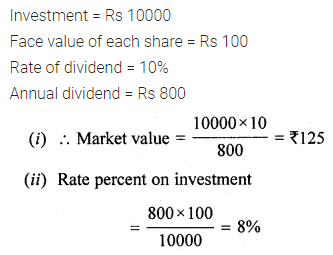ML Aggarwal Class 10 Solutions for ICSE Maths Chapter 3 Shares and Dividends Chapter Test 3