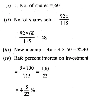 ML Aggarwal Class 10 Solutions for ICSE Maths Chapter 3 Shares and Dividends Chapter Test 6
