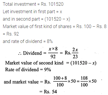 ML Aggarwal Class 10 Solutions for ICSE Maths Chapter 3 Shares and Dividends Chapter Test 9