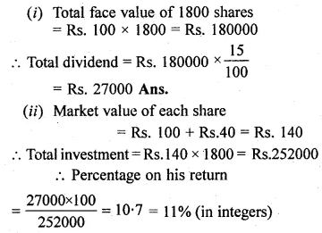 ML Aggarwal Class 10 Solutions for ICSE Maths Chapter 3 Shares and Dividends Ex 3 6