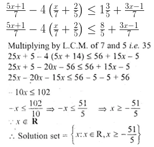 ML Aggarwal Class 10 Solutions for ICSE Maths Chapter 4 Linear Inequations Chapter Test 5