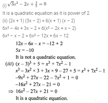 ML Aggarwal Class 10 Solutions for ICSE Maths Chapter 5 Quadratic Equations in One Variable Ex 5.1 1