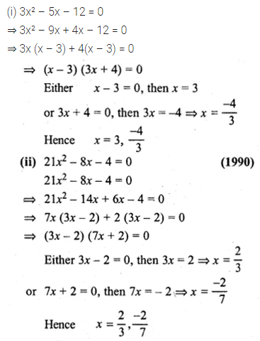 ML Aggarwal Class 10 Solutions for ICSE Maths Chapter 5 Quadratic Equations in One Variable Ex 5.2 4
