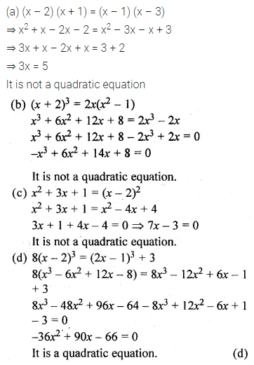 ML Aggarwal Class 10 Solutions for ICSE Maths Chapter 5 Quadratic Equations in One Variable MCQS 2