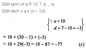 ML Aggarwal Class 10 Solutions for ICSE Maths Chapter 9 Arithmetic and Geometric Progressions MCQS 3