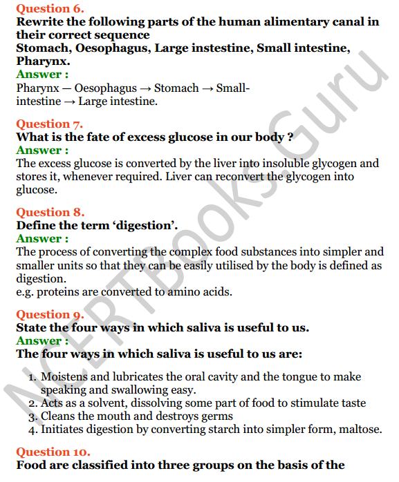 Selina Concise Biology Class 6 ICSE Solutions Chapter 4 Digestive System 9