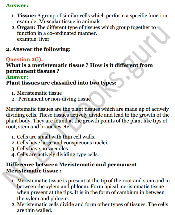 Selina Concise Biology Class 7 ICSE Solutions Chapter 1 Plant and Animal Tissues 2