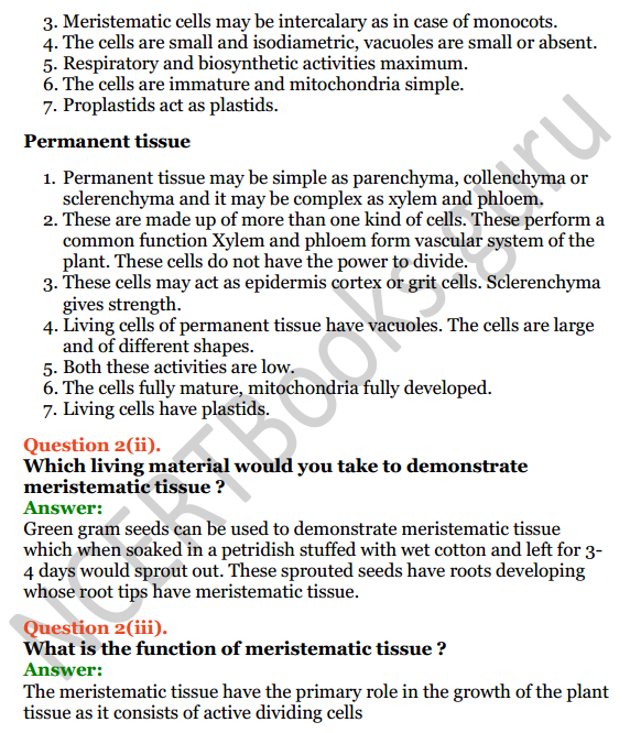 Selina Concise Biology Class 7 ICSE Solutions Chapter 1 Plant and Animal Tissues 3