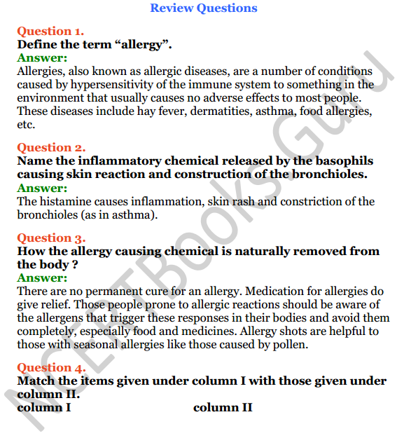 Selina Concise Biology Class 7 ICSE Solutions Chapter 7 Allergy 4