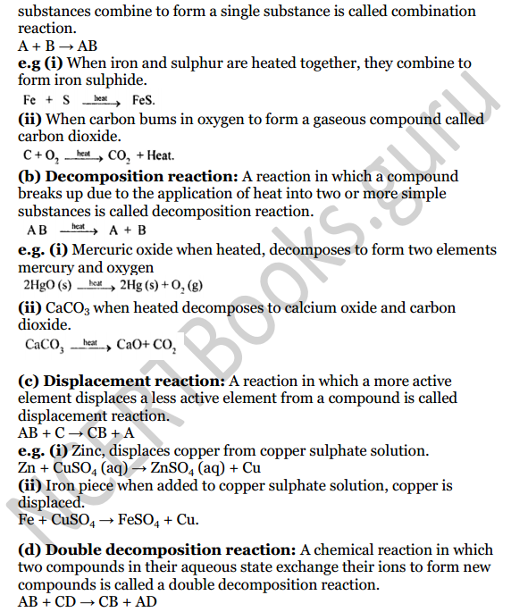 Selina Concise Chemistry Class 8 ICSE Solutions Chapter 6 Chemical Reactions 10