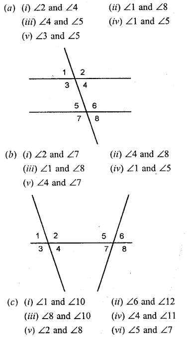 Selina Concise Mathematics Class 6 ICSE Solutions Chapter 25 Properties of Angles and Lines Ex 25B Q1