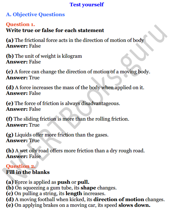 Selina Concise Physics Class 6 ICSE Solutions Chapter 3 Force 1