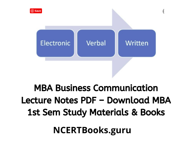 MBA Business Communication LectureNotes