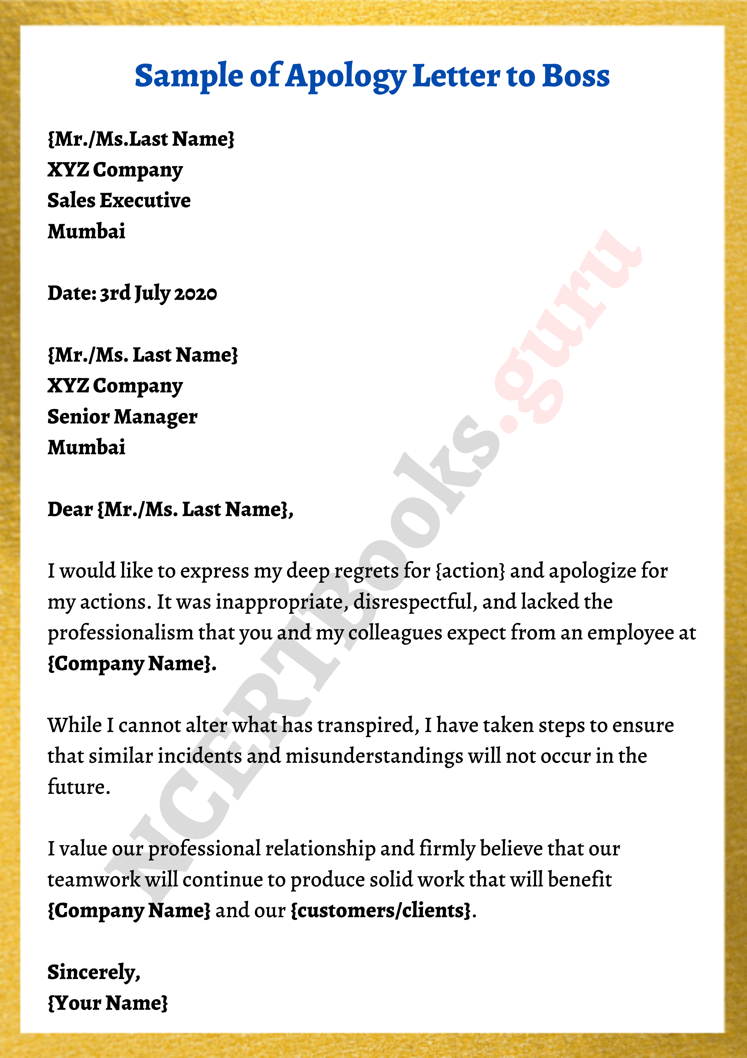 sample apology letter to boss