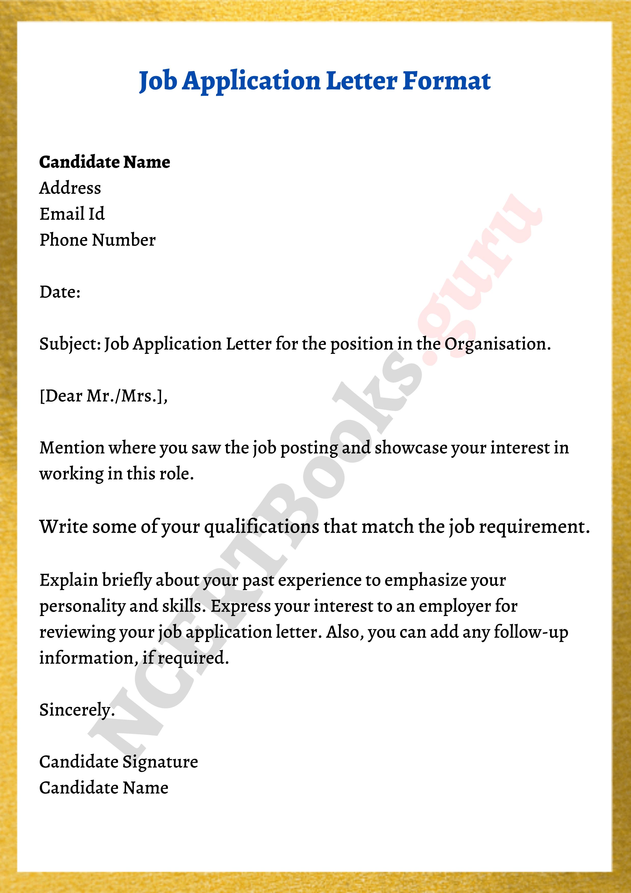 Job Application Letter Format Samples