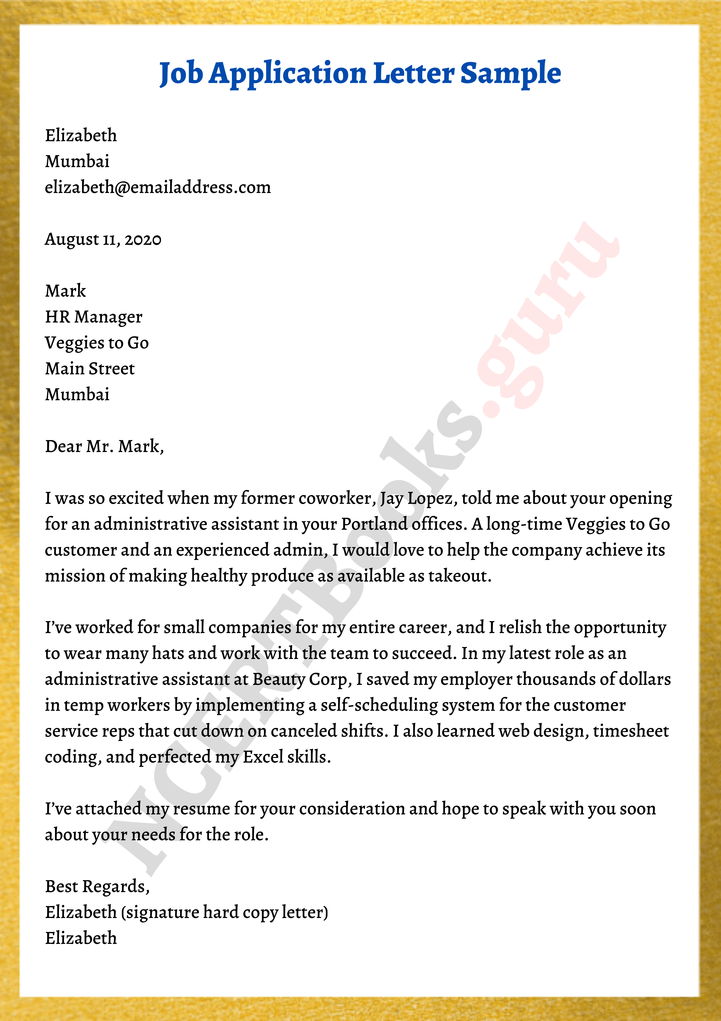 Job Application Letter Format Samples What To Include In Cover Letter