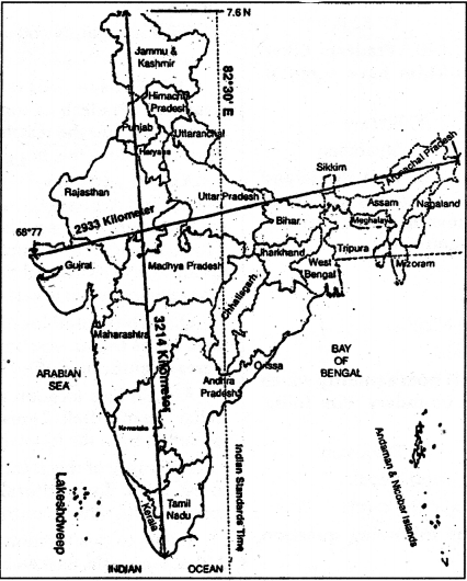 NCERT Solutions for Class 9 Social Science Geography Chapter 1 India-Size and Location 1
